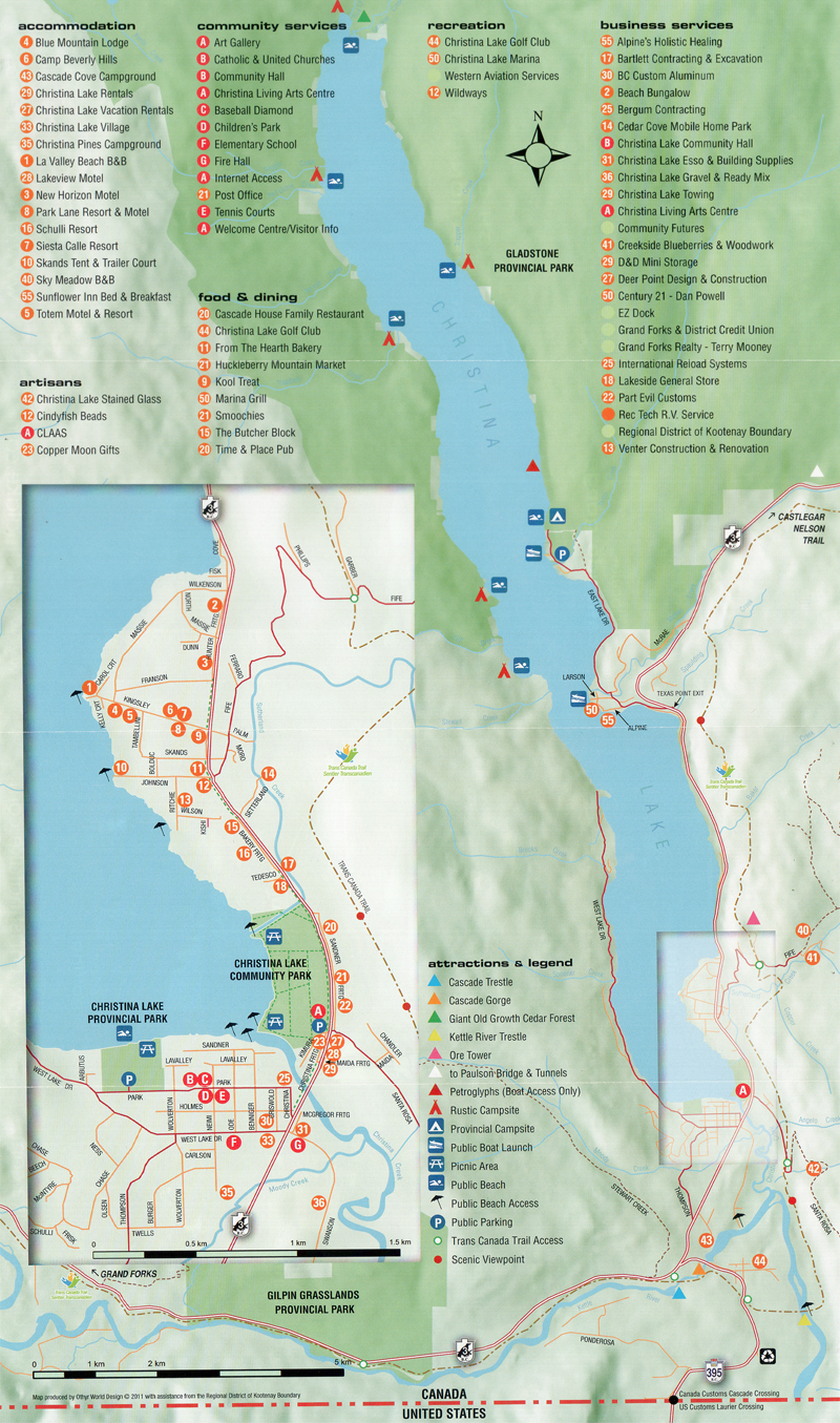 Area Map Christina Lake BC Canada
